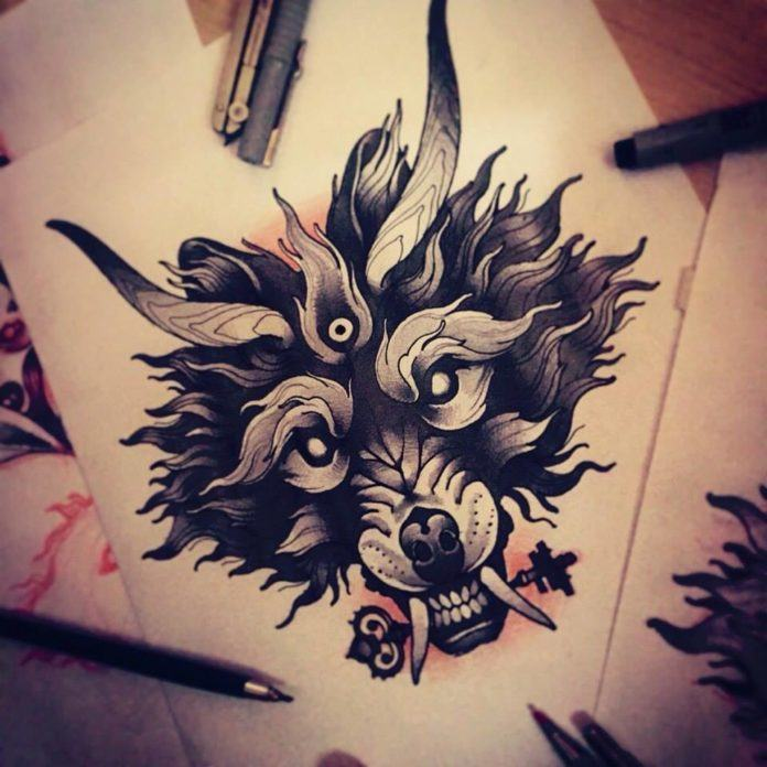 This esoteric wolf tattoo sketch by Vitaly Morozov shows the dark beast holding a magical key in its teeth