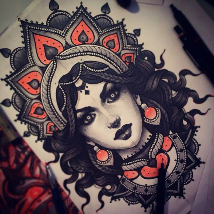 Vitaly Morozov draws a stunning Goddess for this black and red tattoo design