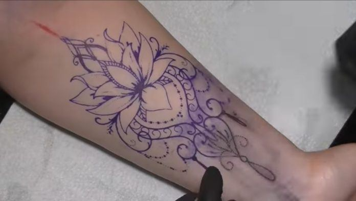 Zaharia's client has chosen to have this esoteric lotus tattoo inked on to the skin on the inside of their wrist