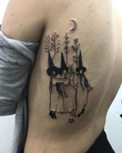 Artist Maria Emilia has created this illustrated tattoo of a witch's coven dancing under the stars