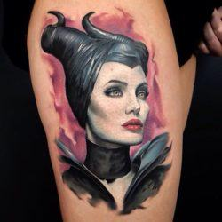 This witch tattoo shows Angelina Jolie in her role as Maleficent, the good fairy who became an evil witch