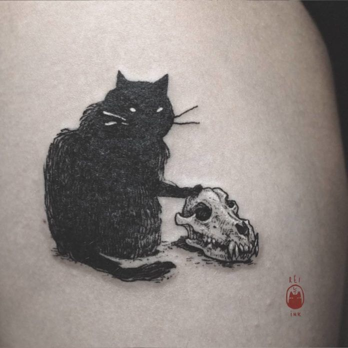 An evil black cat shows its domination over all dog-kind by placing its paw regally on a dog's skull in this creepy cute tattoo by Daria Rei