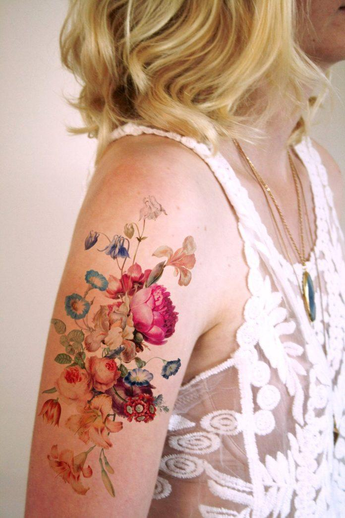 Artist Wilma Boekholt has designed this feminine floral temporary tattoo that features a vintage bouquet of wild flowers