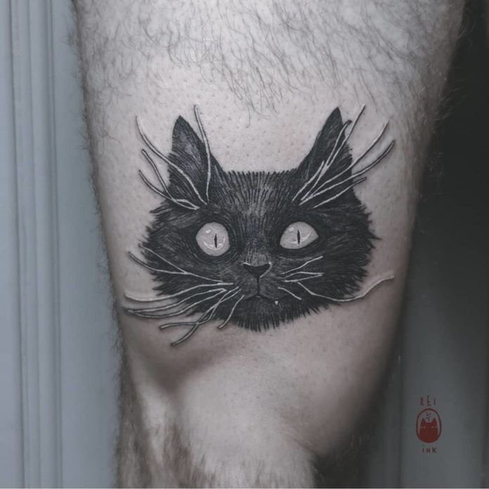 Miaohaha! This kitty cat tattoo is a portrait of one of Daria Rei's imaginary black cat friends