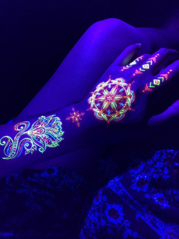 Neon ink makes these hippy boho transfer tattoos temporary but memorable body artworks