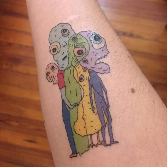 Temporary tattoos don't have to have lame subject matter, instead they can have wacky and weird monsters like this funny tattoo by Samantha Lindsay.jpg