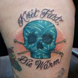 This knitting tattoo design by Alie is a pun that plays on the saying, Live fast, die young